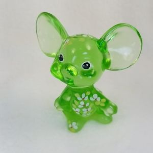 Vtg Fenton Glass HandPainted 5148 Green Mouse #E2